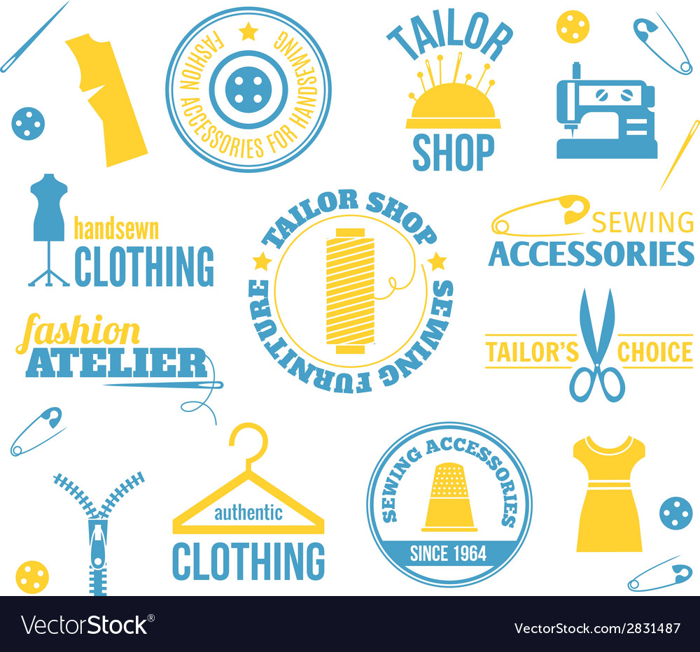 Sewing equipment labels vector | Price: 1 Credit (USD $1)