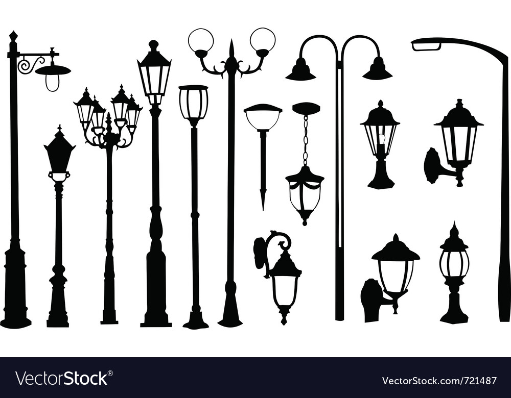 Street light silhouettes vector | Price: 1 Credit (USD $1)