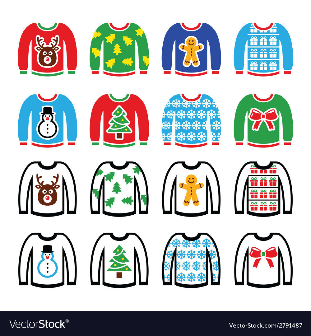 Ugly christmas sweater on jumper icons set vector | Price: 1 Credit (USD $1)
