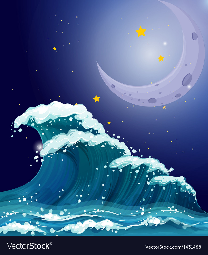 A big wave under the sparkling stars and a bright vector | Price: 1 Credit (USD $1)