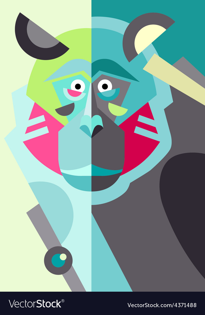 Abstract original monkey drawing in flat style and vector | Price: 1 Credit (USD $1)