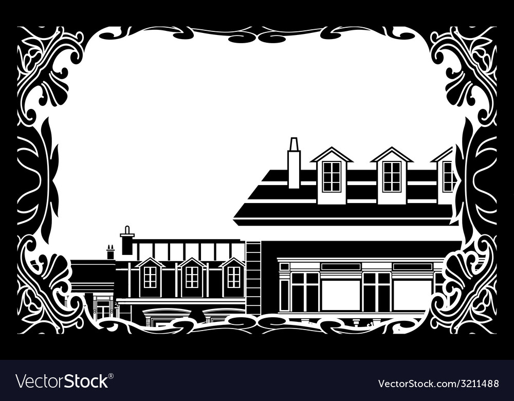 Ancient roofs inside a frame vector | Price: 1 Credit (USD $1)