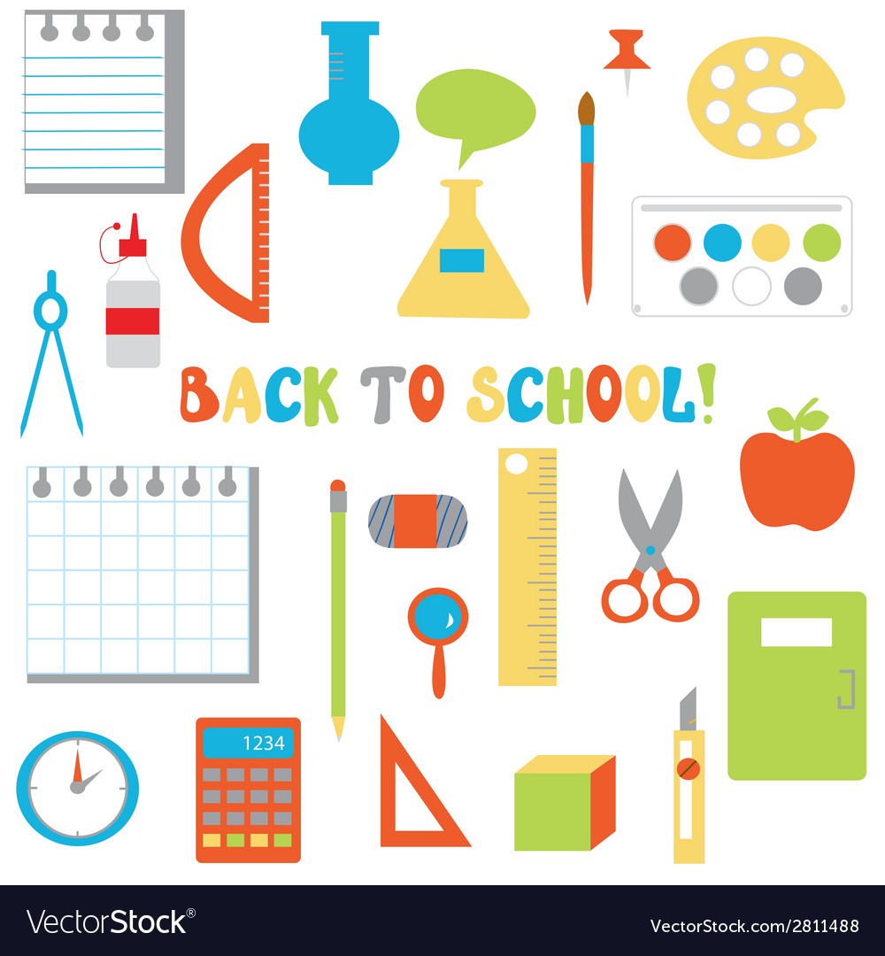 Back to school icons set - funny flat design vector | Price: 1 Credit (USD $1)