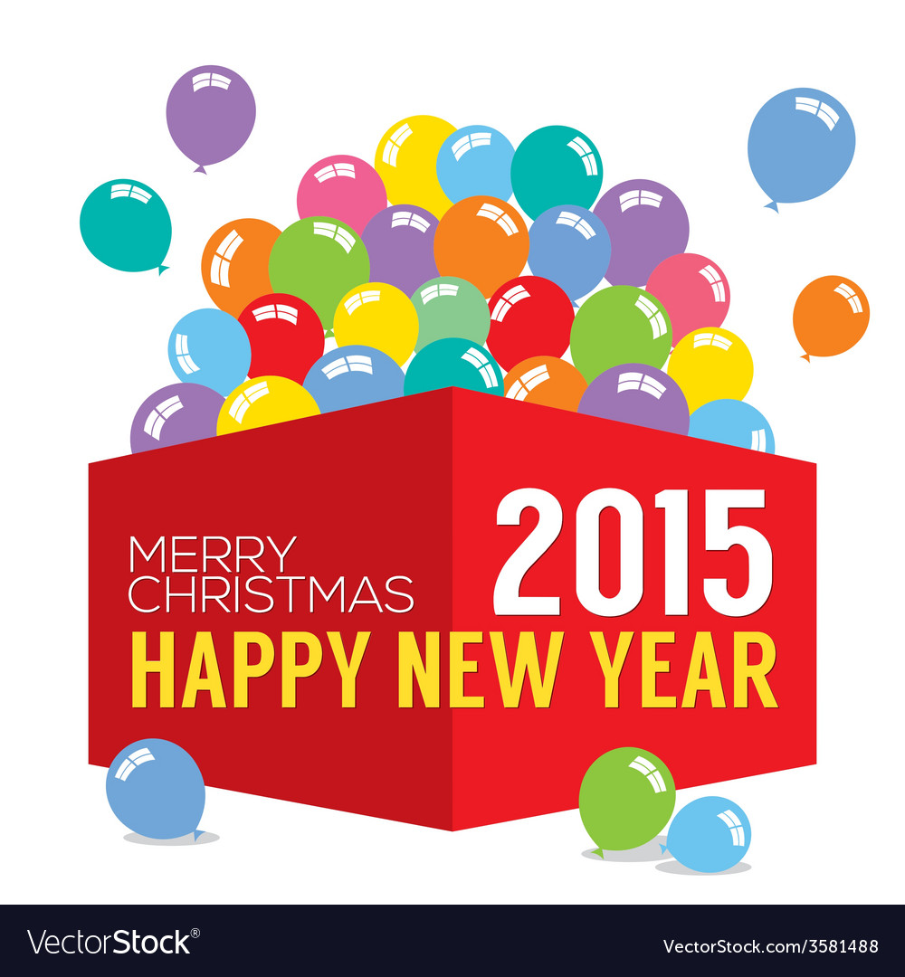 Balloons in the box 2015 new year vector | Price: 1 Credit (USD $1)
