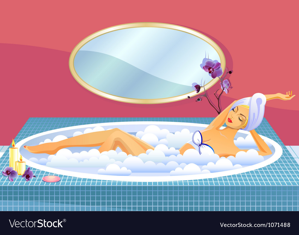Beautiful girl taking a bath vector | Price: 5 Credit (USD $5)