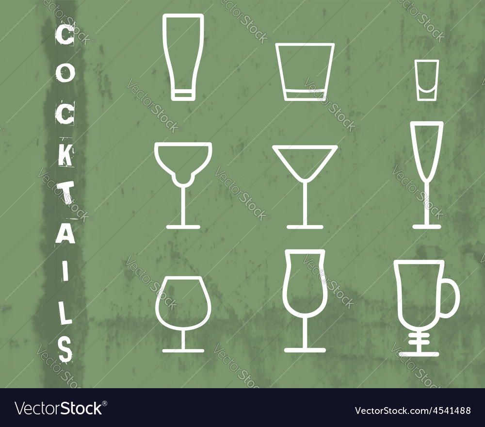 Beverage thin line symbol icon cocktails vector | Price: 1 Credit (USD $1)