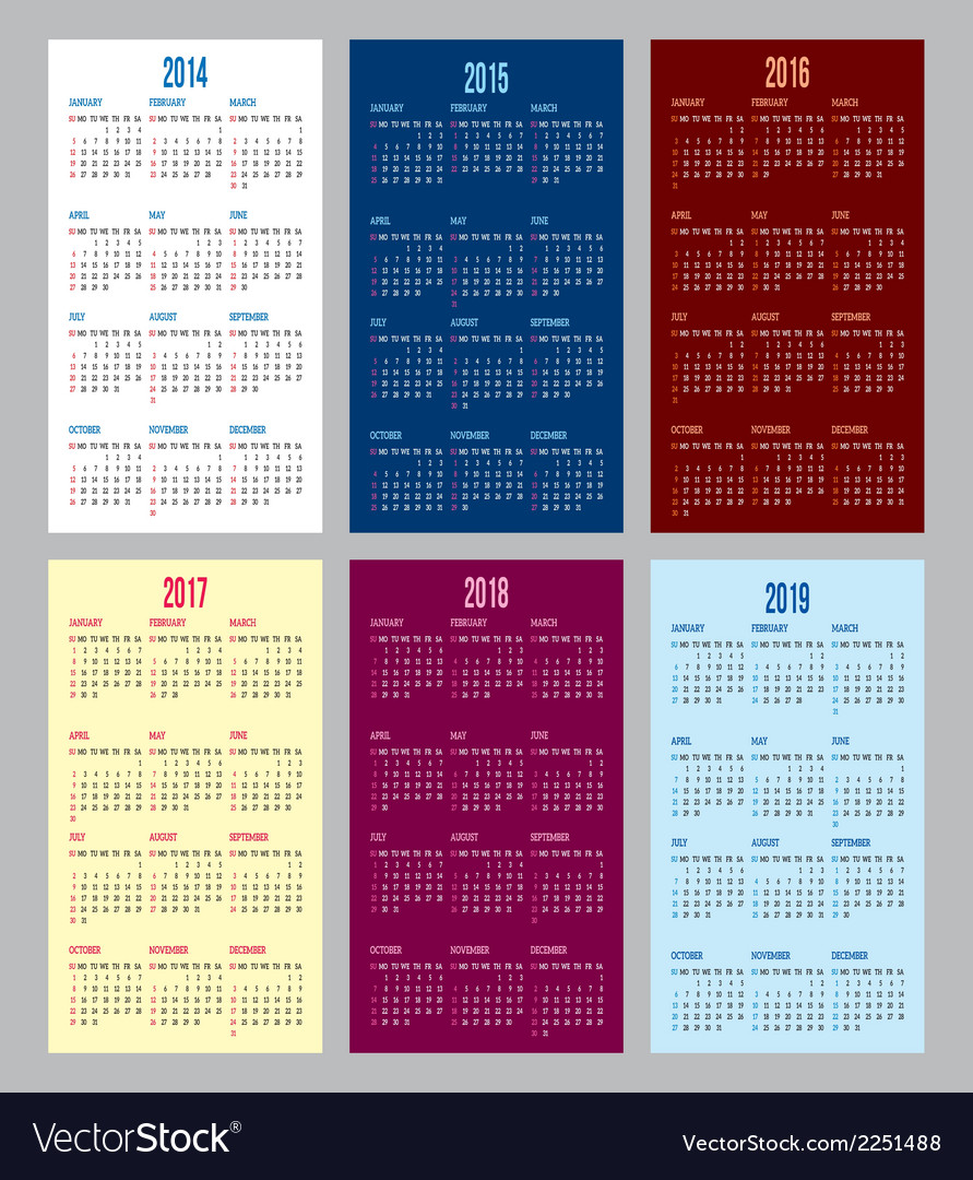 Calendar grid for 2014 2015 2016 2017 2018 2019 vector | Price: 1 Credit (USD $1)