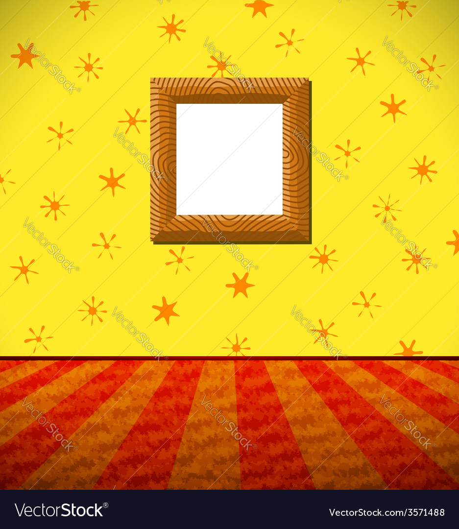 Cartoon childish room with wooden frame vector | Price: 1 Credit (USD $1)