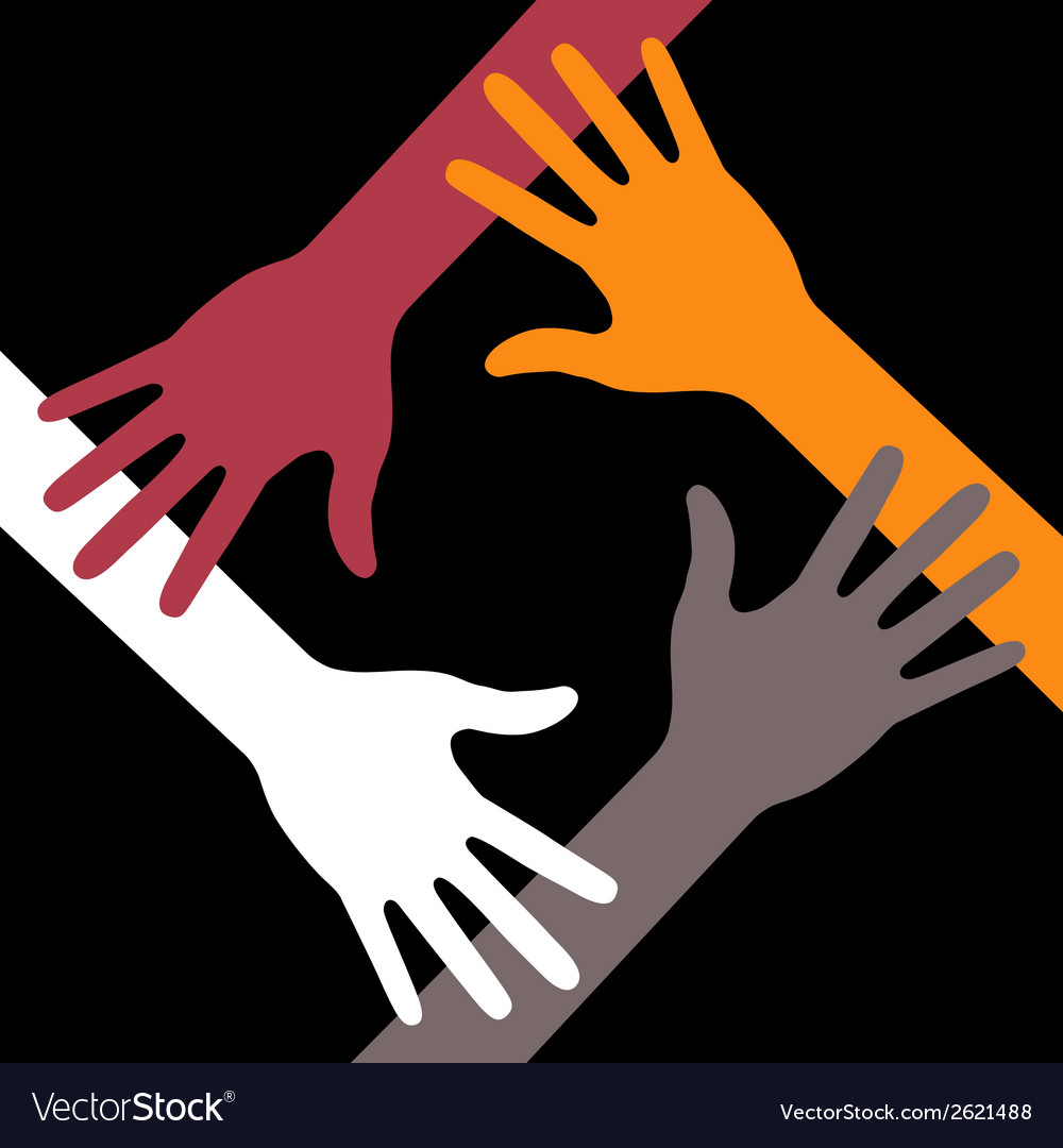 Colorful four hands icon on black background vector | Price: 1 Credit (USD $1)