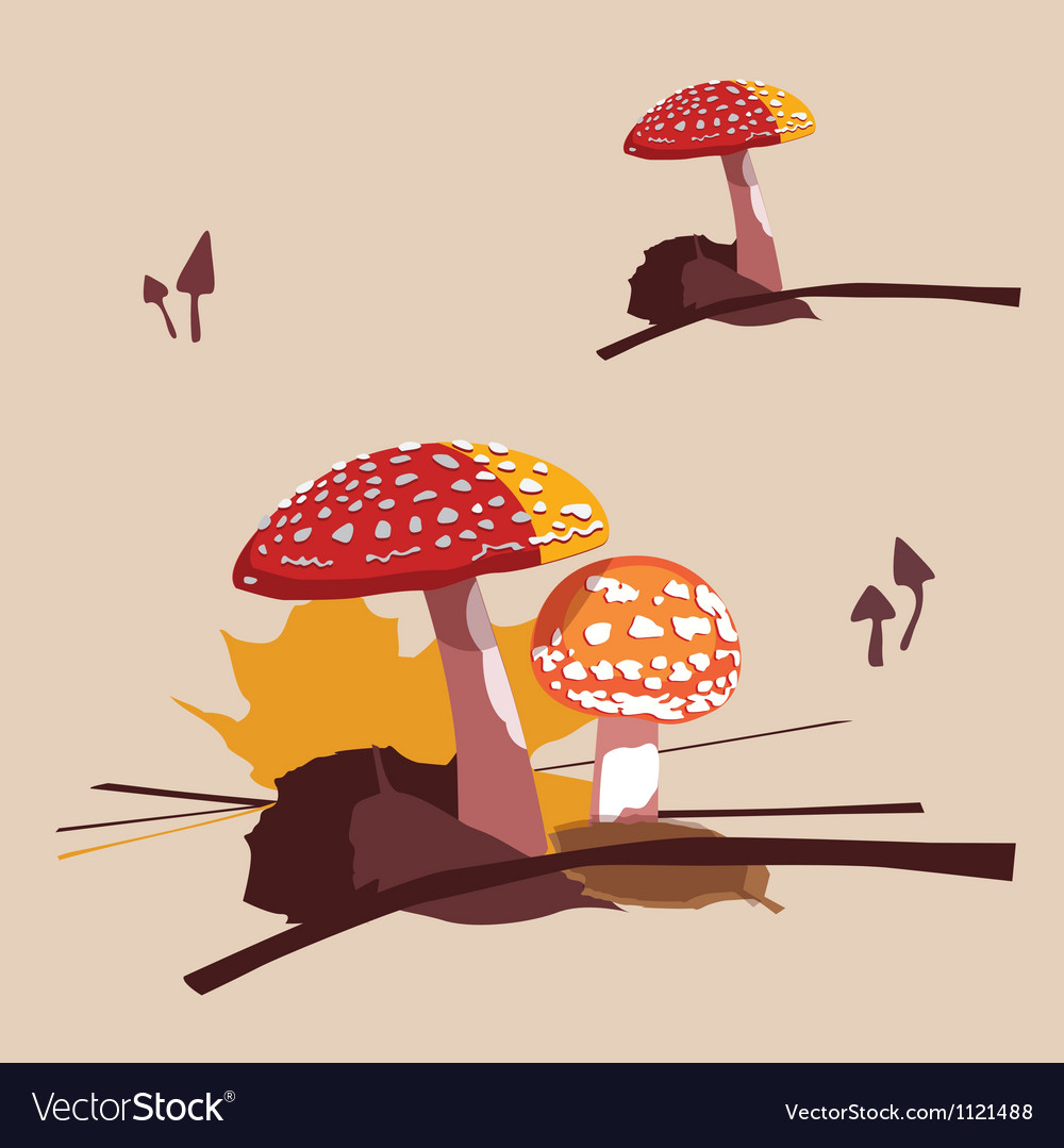 Forest poisonous mushrooms fly agarics vector | Price: 1 Credit (USD $1)