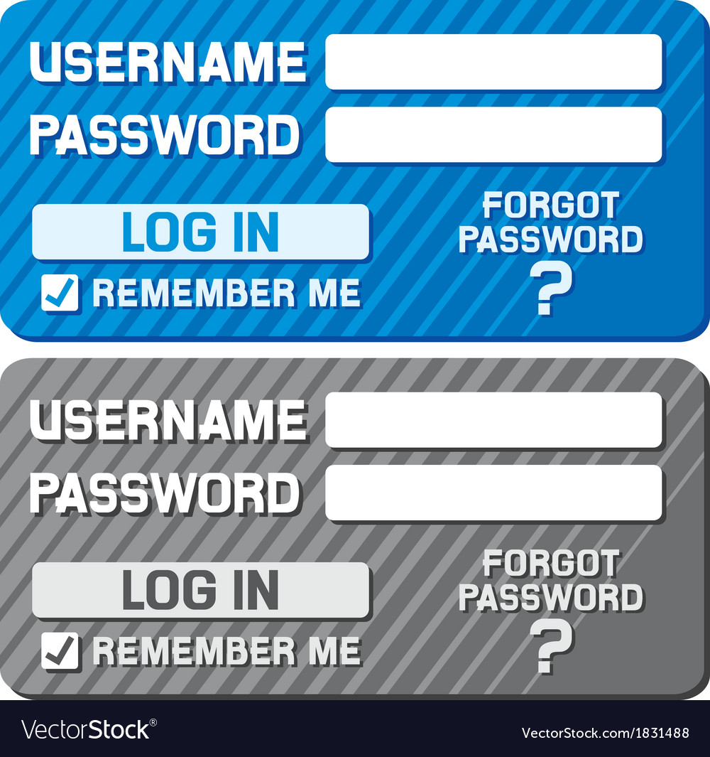 Log in form with username and password fields vector | Price: 1 Credit (USD $1)