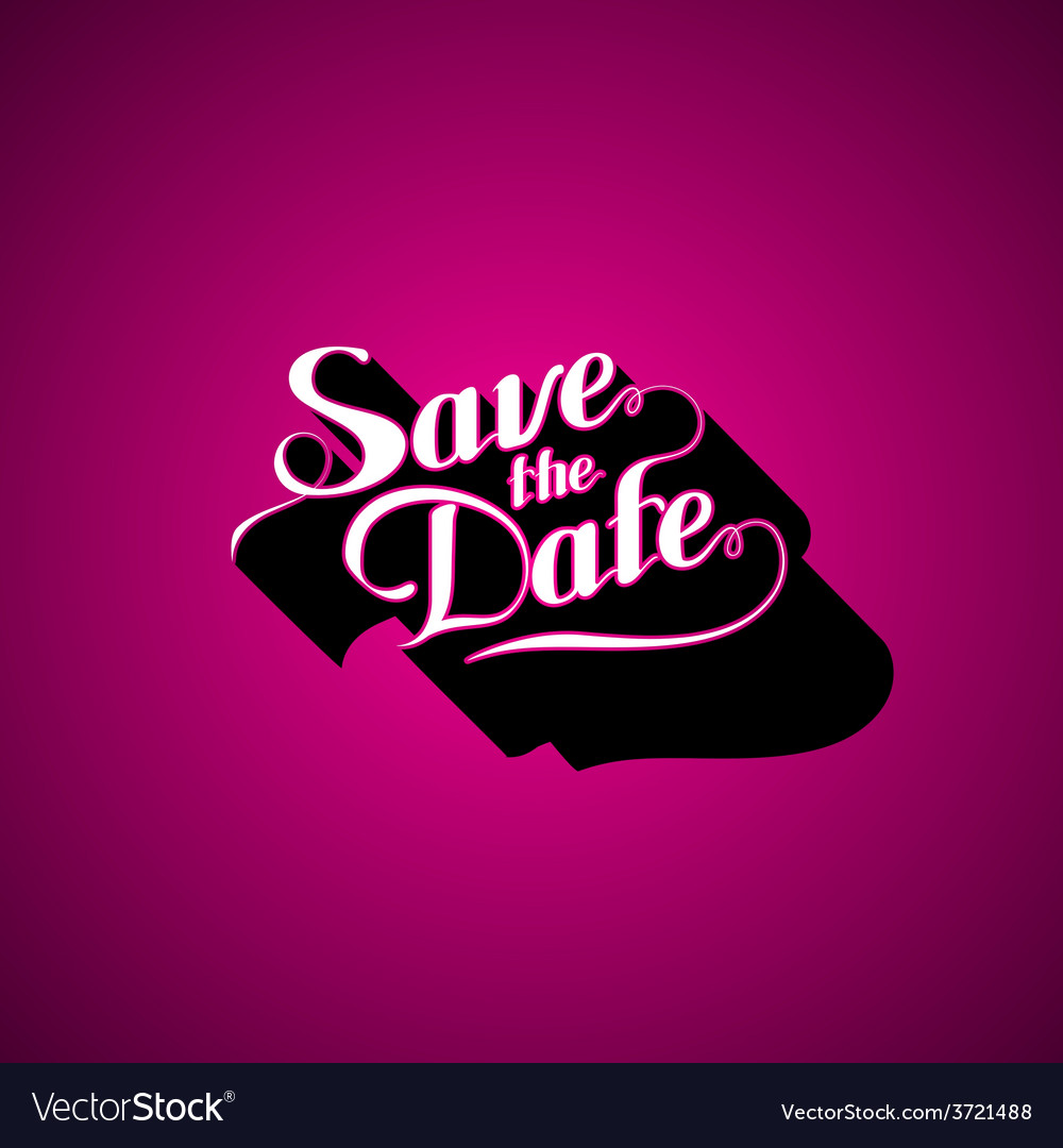 Save the date retro label vector | Price: 1 Credit (USD $1)