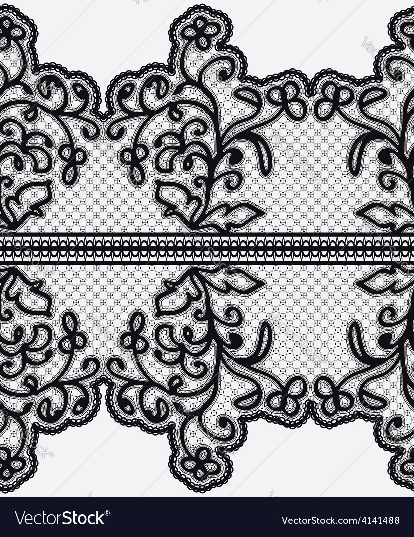 Seamless wide lace ribbon with openwork flowers vector | Price: 1 Credit (USD $1)