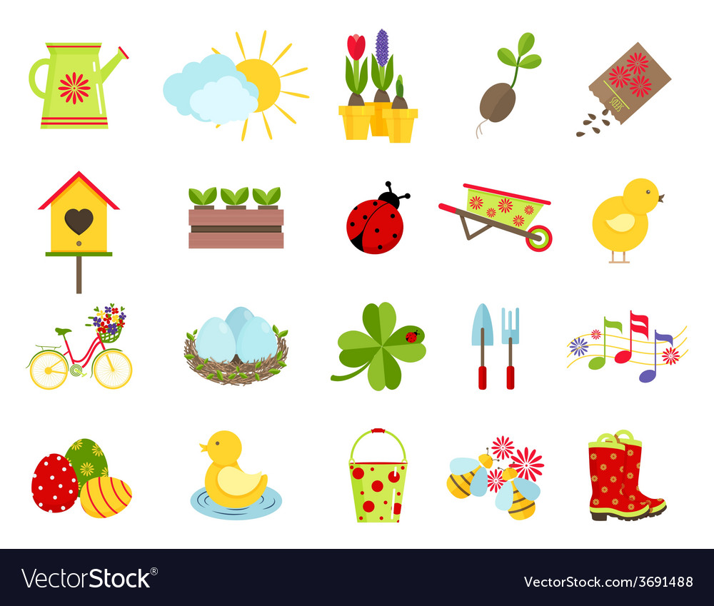 Spring icons flat style set vector | Price: 1 Credit (USD $1)
