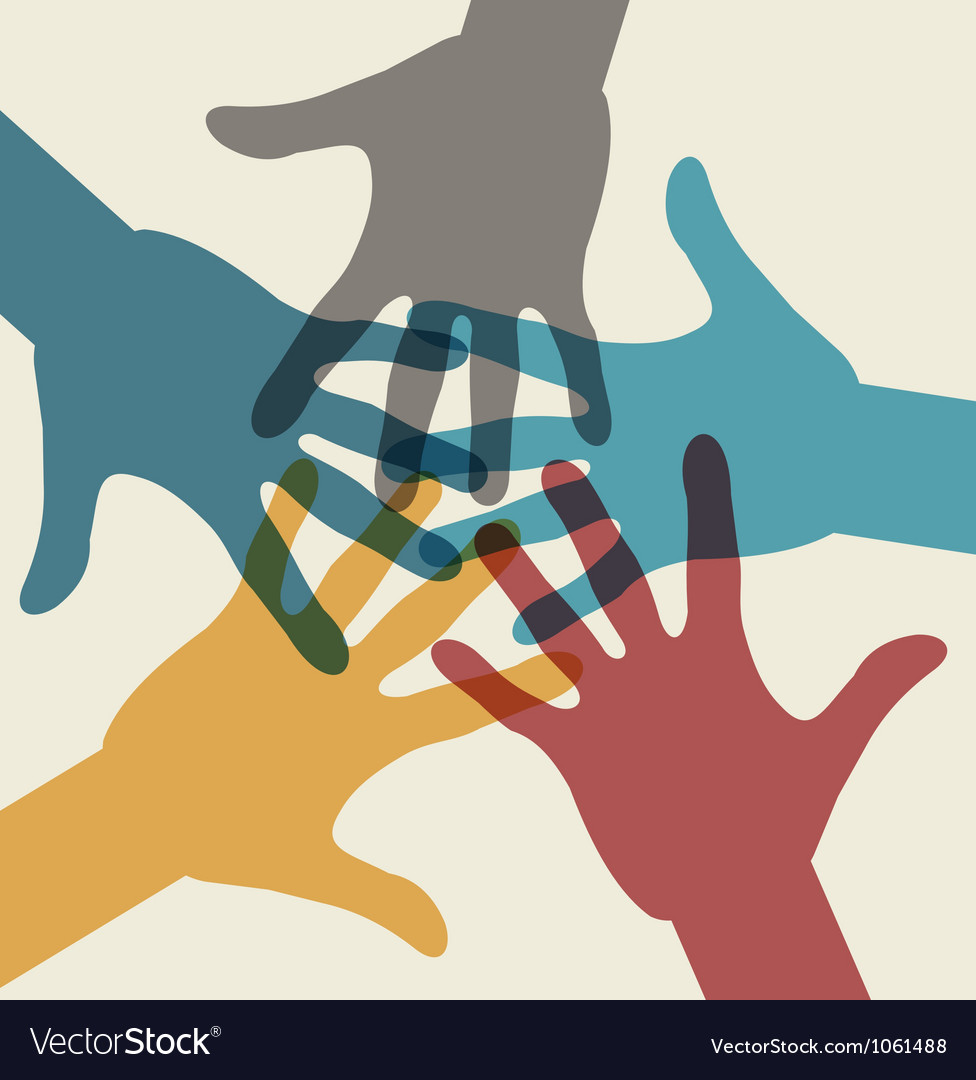 Team symbol multicolored hands vector | Price: 1 Credit (USD $1)