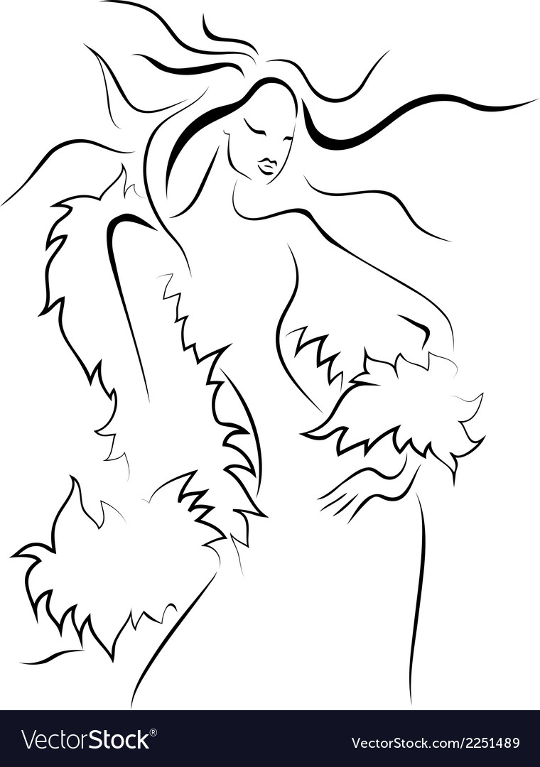 Beautiful young woman in a fur vector | Price: 1 Credit (USD $1)