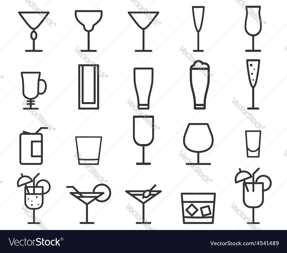 Beverage drinks thin line symbol icon vector   Price: 1 Credit (USD $1)