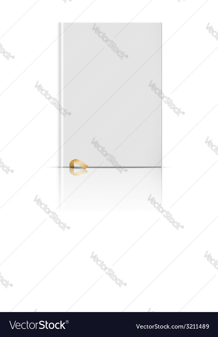 Blank vertical book template with gold bookmark vector | Price: 1 Credit (USD $1)