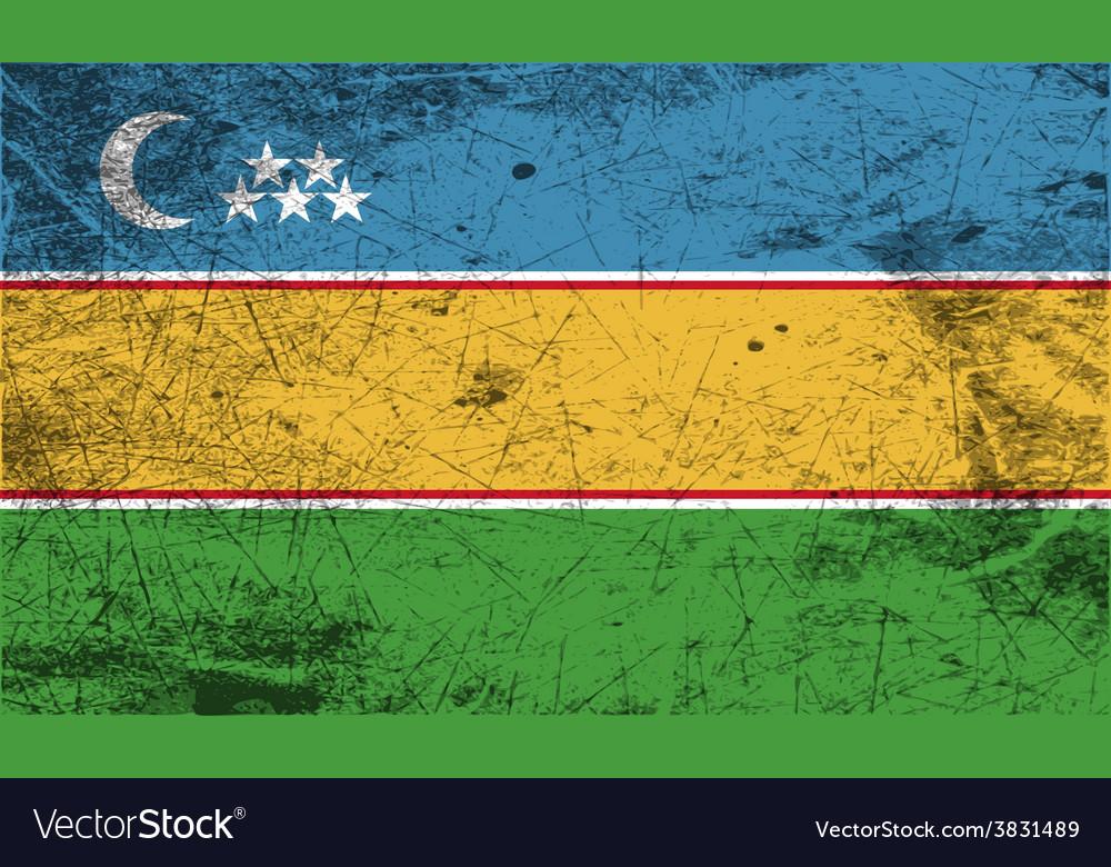 Flag of karakalpakstan with old texture vector | Price: 1 Credit (USD $1)