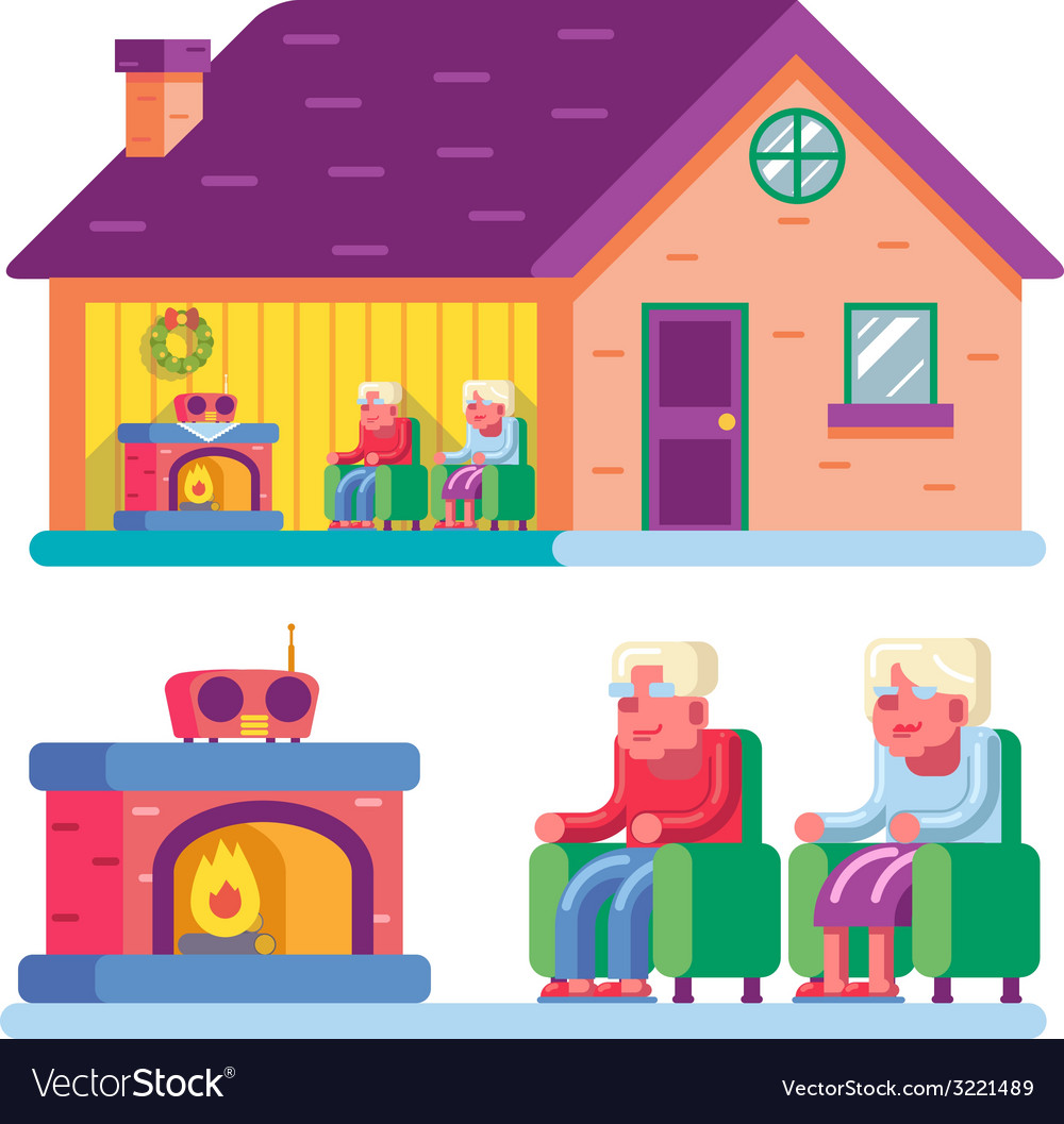 Happy smiling elderly family couple sitting in vector   Price: 1 Credit (USD $1)