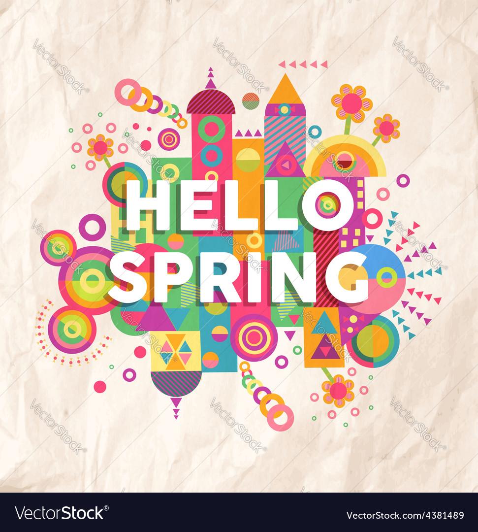 Hello spring quote poster design vector | Price: 1 Credit (USD $1)