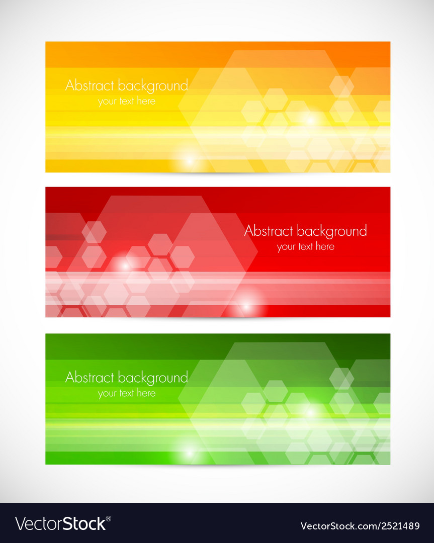 Set of tech banners with hexagons vector | Price: 1 Credit (USD $1)