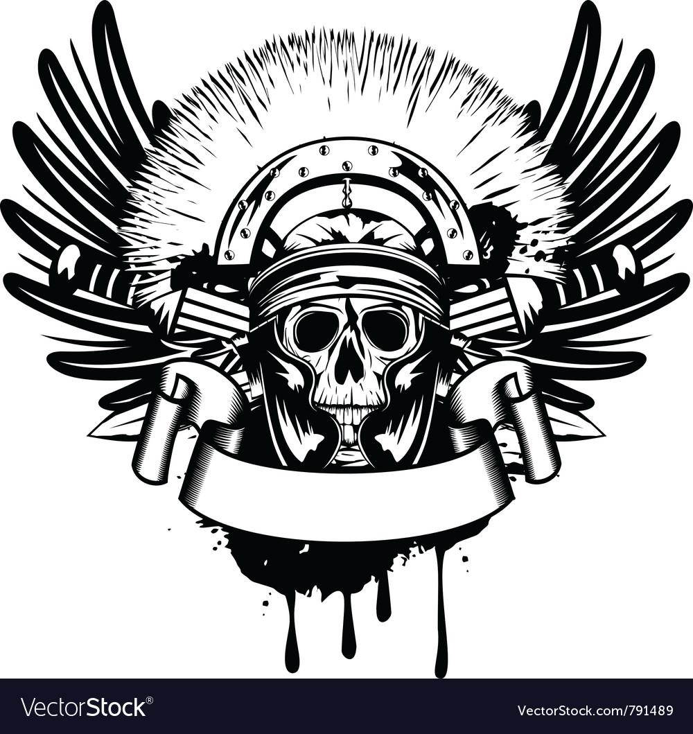 Skull in helmet vector | Price: 1 Credit (USD $1)