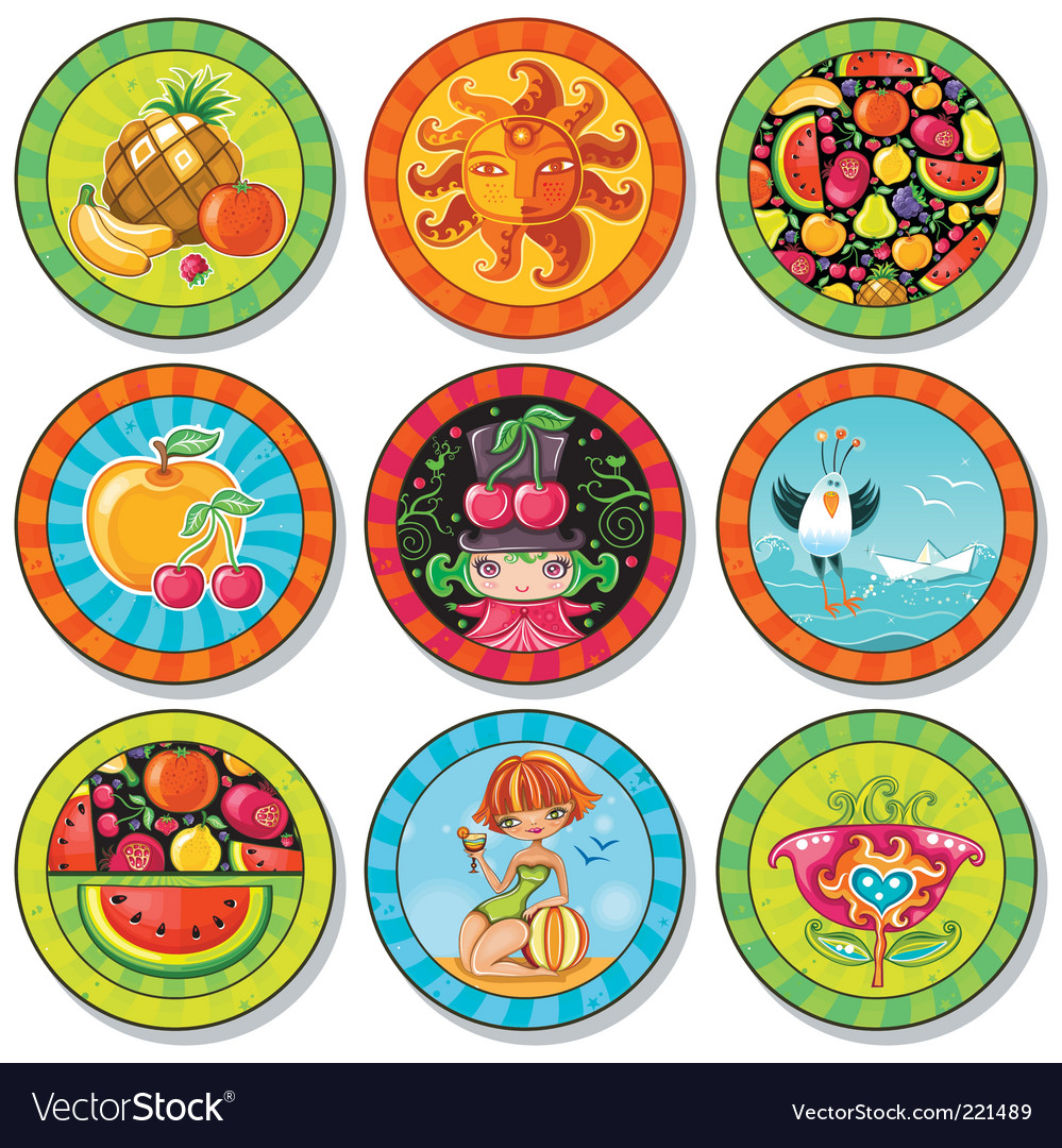 Summer drink coasters vector | Price: 3 Credit (USD $3)