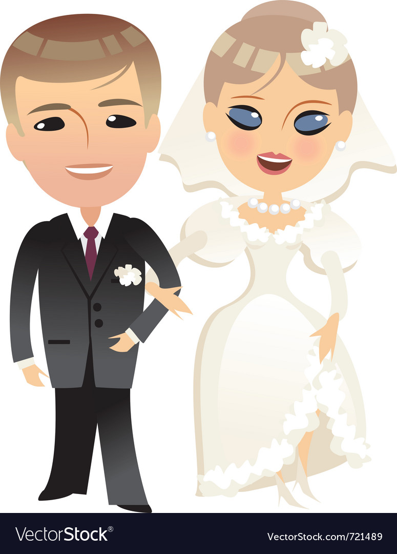 Wedding bride and groom cartoon vector | Price: 1 Credit (USD $1)