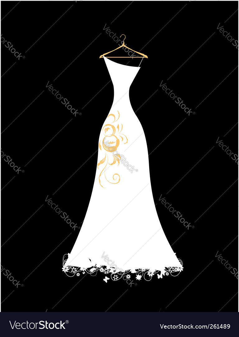 Wedding dress white on hangers vector | Price: 1 Credit (USD $1)