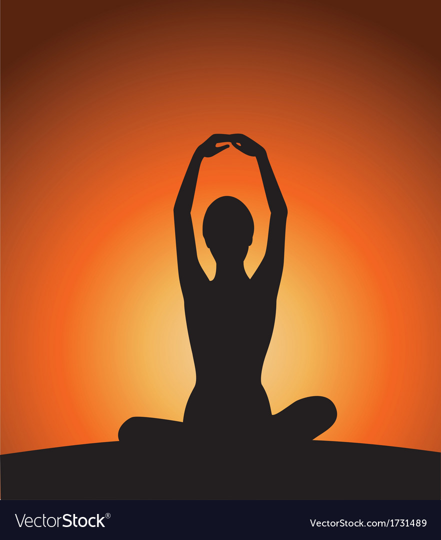Yoga woman silhouette on sunset vector | Price: 1 Credit (USD $1)