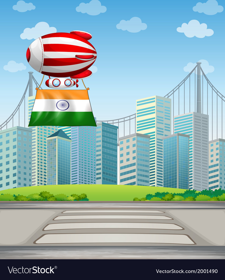 An air balloon in the city with the flag of india vector | Price: 3 Credit (USD $3)