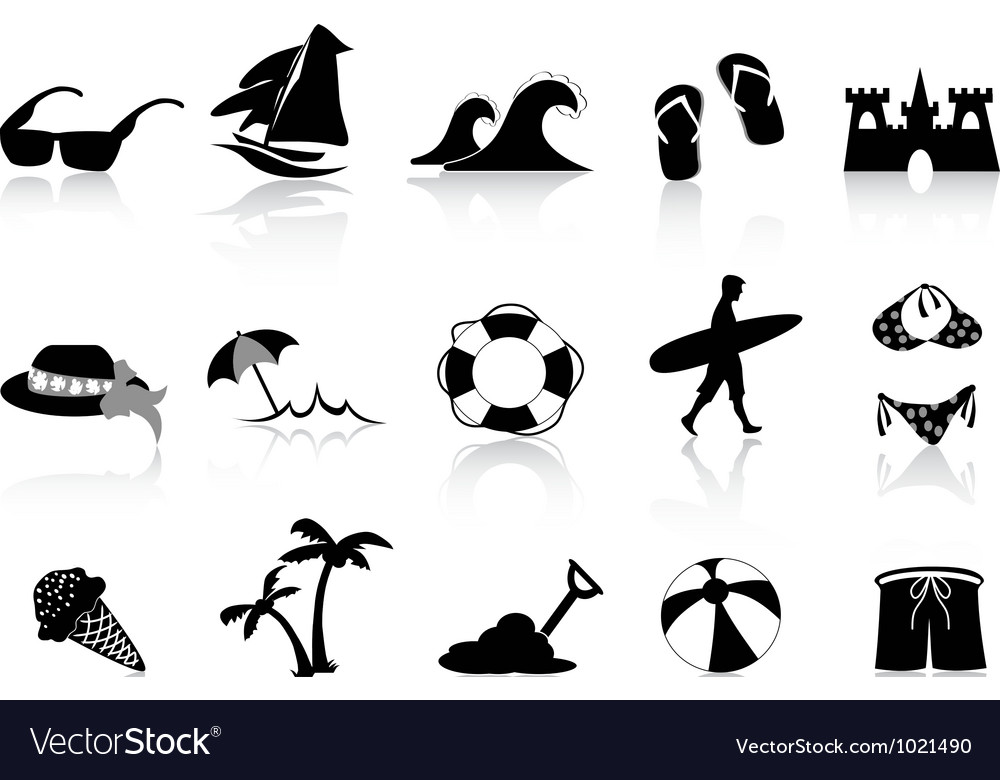 Black beach icon set vector | Price: 1 Credit (USD $1)