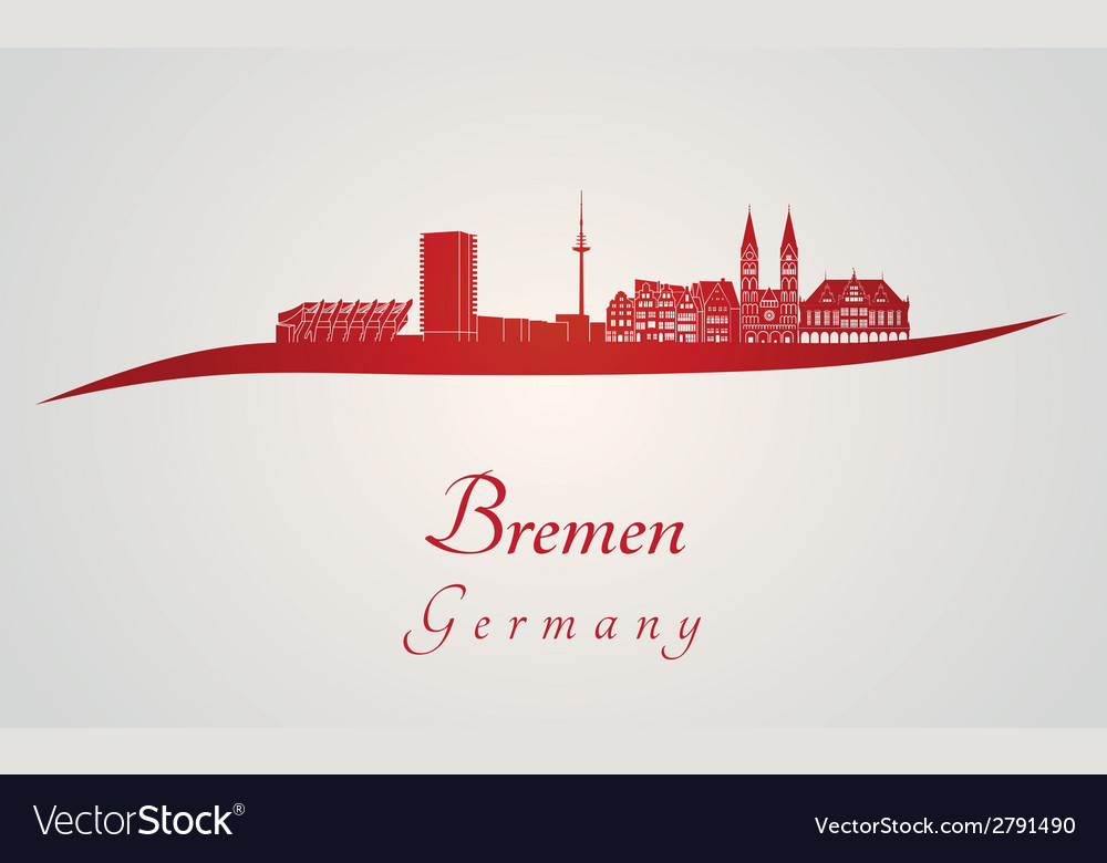 Bremen skyline in red vector | Price: 1 Credit (USD $1)