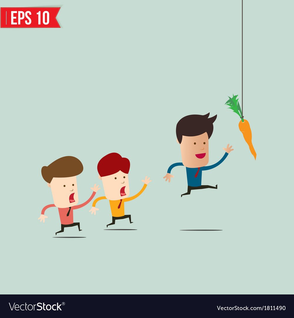 Businessman try to reach carrot - - eps10 vector | Price: 1 Credit (USD $1)