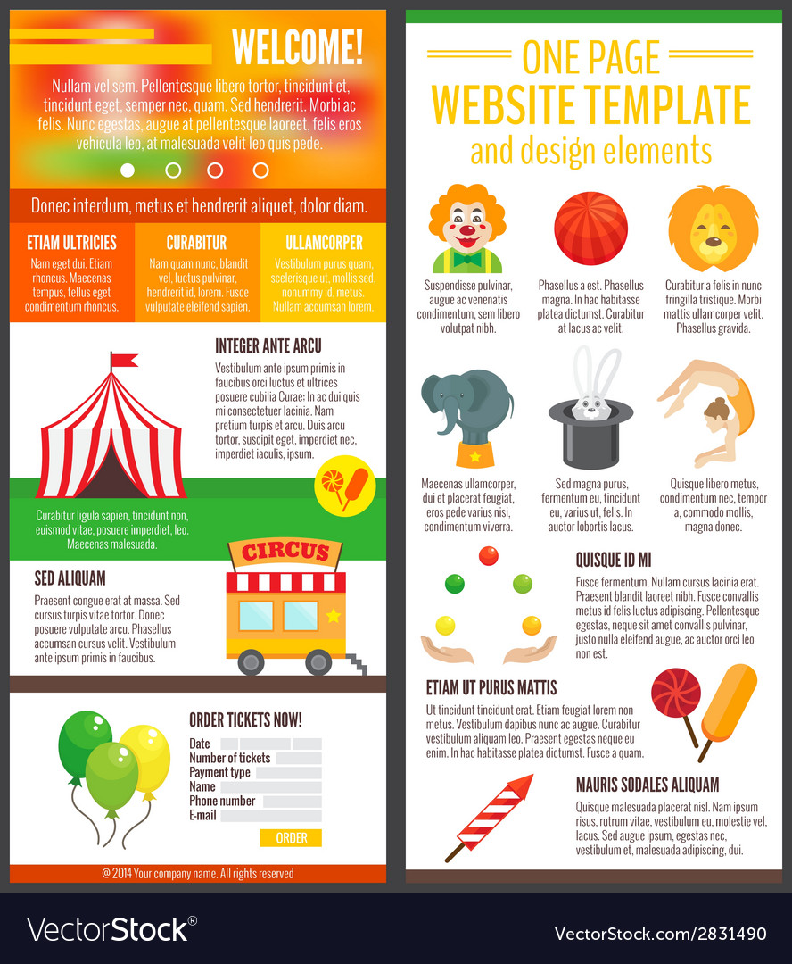 Circus website page vector | Price: 1 Credit (USD $1)