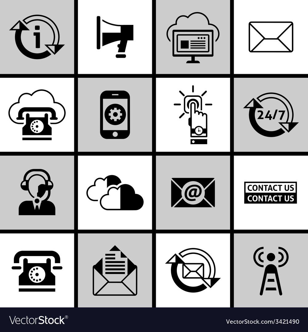 Contact us icons set black and white vector | Price: 1 Credit (USD $1)
