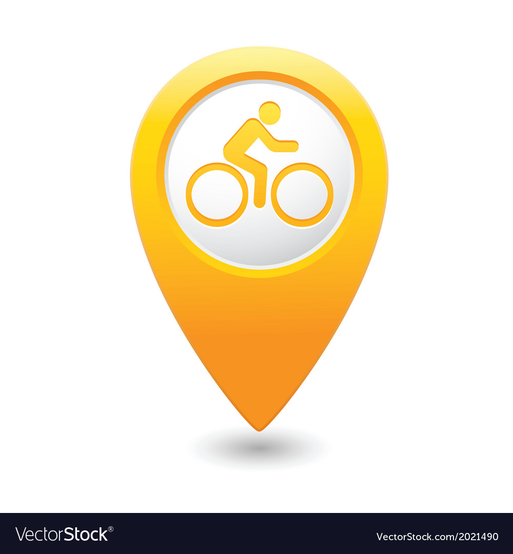Cyclist symbol map pointer yellow vector | Price: 1 Credit (USD $1)