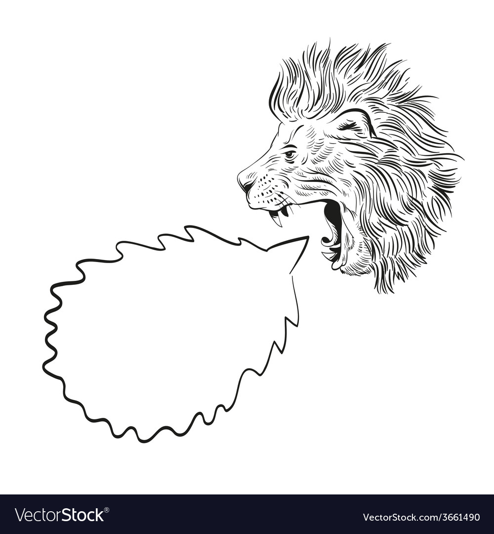 Drawing lion speech bubble vector | Price: 1 Credit (USD $1)