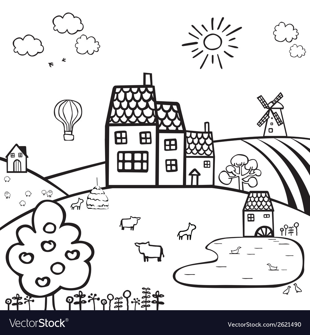 Farm black and white landscape vector | Price: 1 Credit (USD $1)