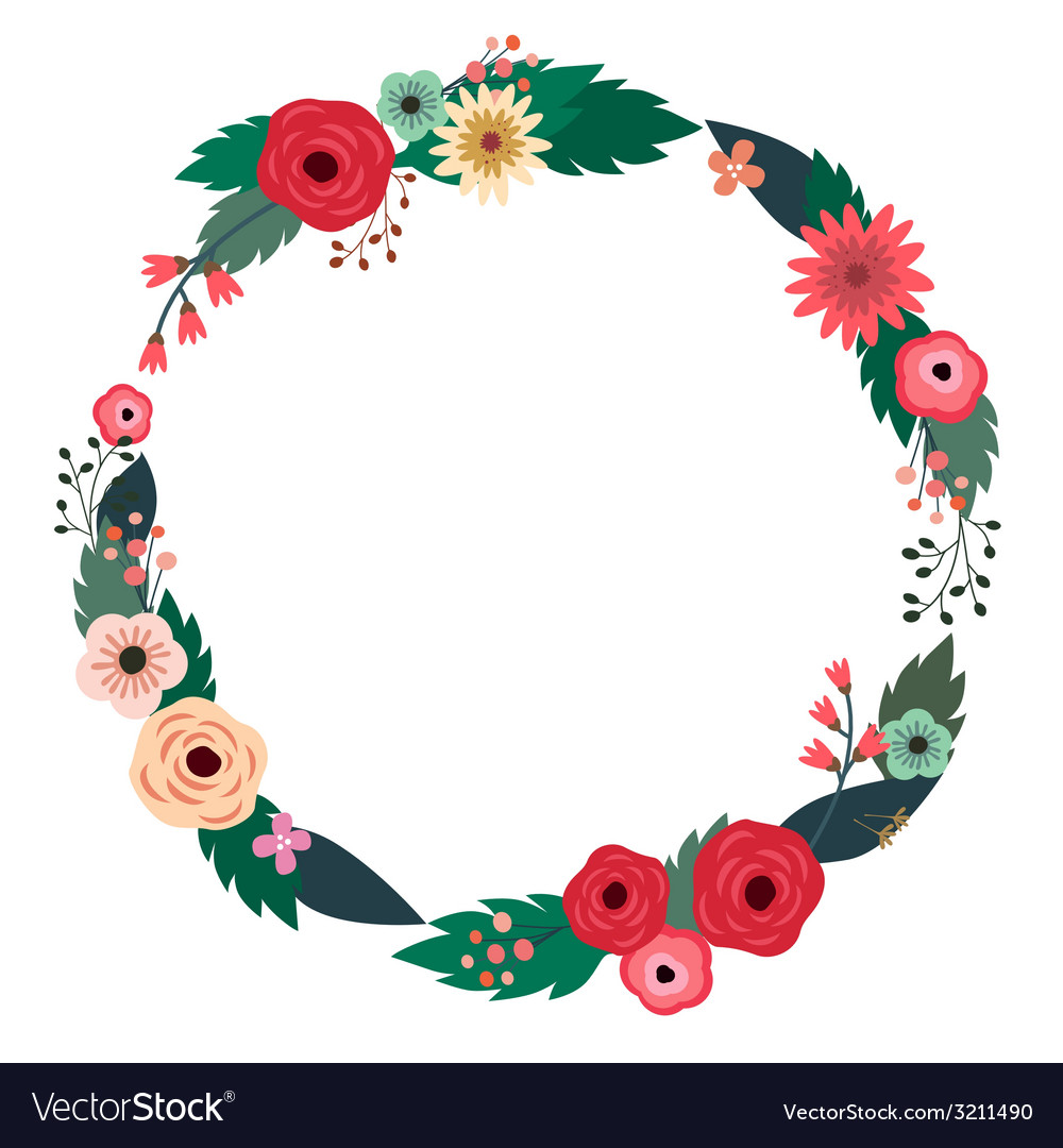Floral wreath with roses vector | Price: 1 Credit (USD $1)
