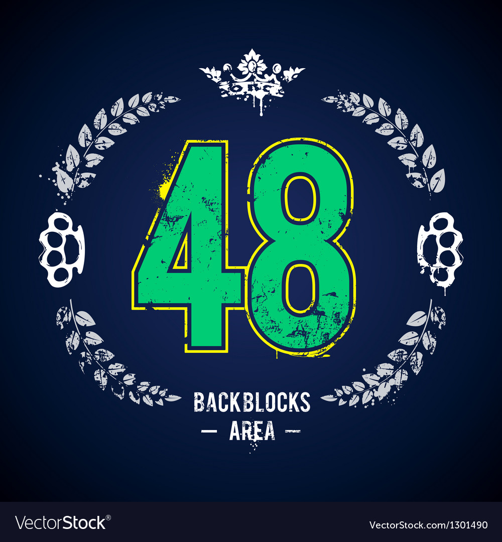 Grunge 48 number vector | Price: 1 Credit (USD $1)