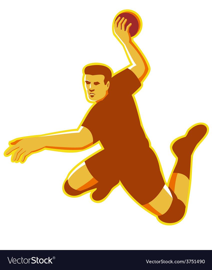 Handball player jumping striking retro vector | Price: 1 Credit (USD $1)