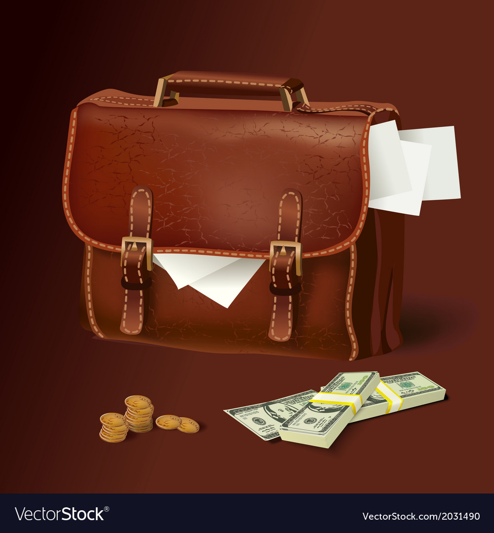 Leather briefcase with documents and money vector | Price: 3 Credit (USD $3)