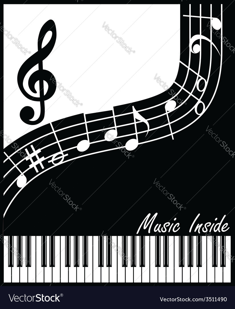 Music inside black and white vector | Price: 1 Credit (USD $1)