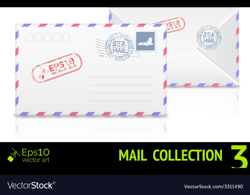 Sea mail envelope isolated on white background vector | Price: 1 Credit (USD $1)