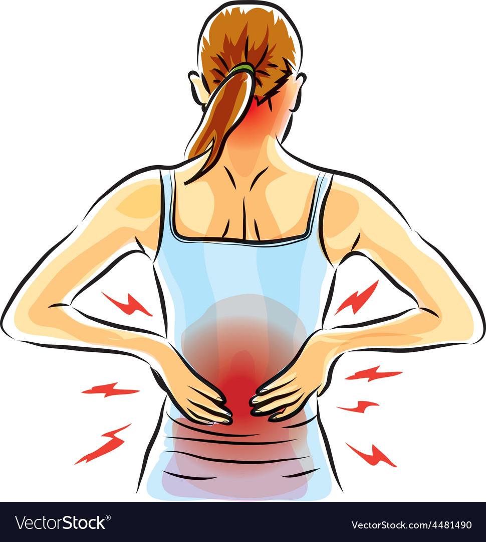 Woman back ache vector   Price: 1 Credit (USD $1)