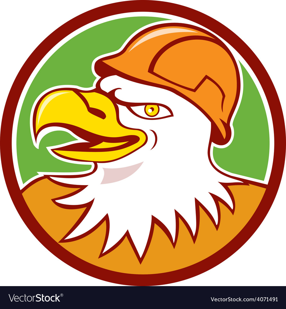 Bald eagle construction worker head circle cartoon vector | Price: 1 Credit (USD $1)