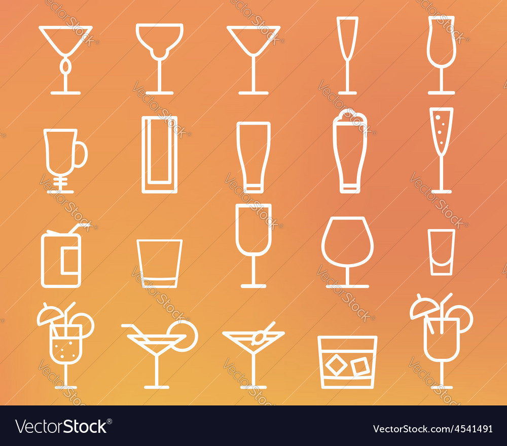 Beverage drinks thin line symbol icon vector | Price: 1 Credit (USD $1)