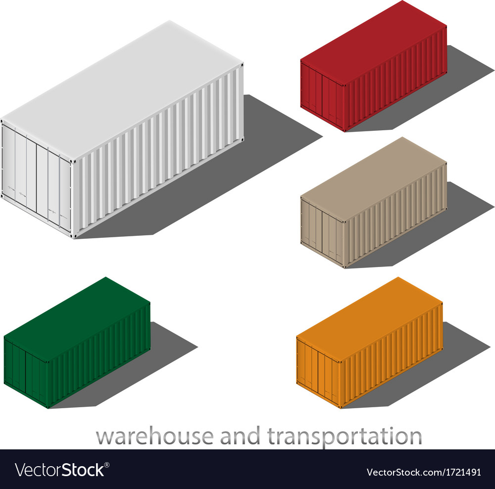 Cargo container isolated on white background vector | Price: 1 Credit (USD $1)